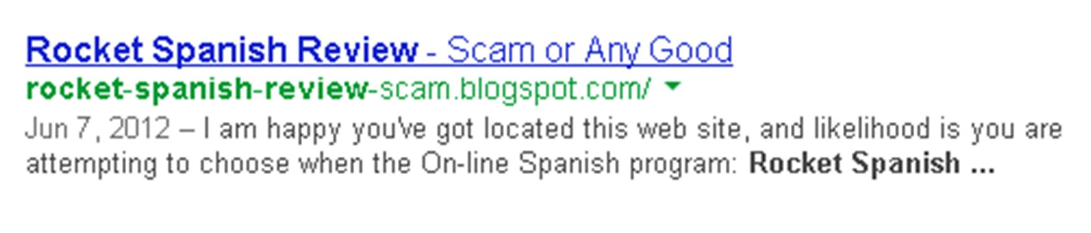 Rocket Spanish Scam Example